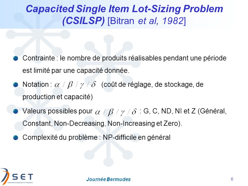 Capacited Single Item Lot-Sizing Problem (CSILSP) [Bitran et al, 1982]